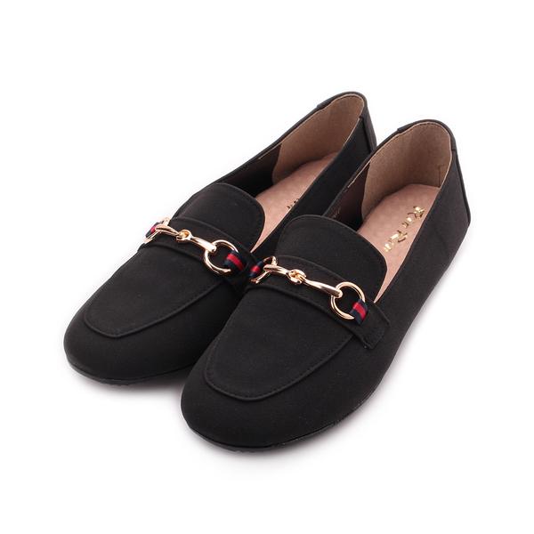 RIN RIN 仿皮飾釦樂福鞋 黑 女鞋 鞋全家福