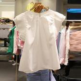 夏裝新款白色飛飛袖套頭襯衫女時尚休閒韓范短袖襯衣學生上衣  草莓妞妞