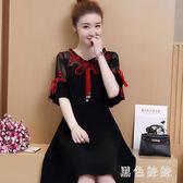 大尺碼洋裝夏裝新款粗腰遮肚連身裙適合胖女人穿的A字裙zt1179 【黑色妹妹】