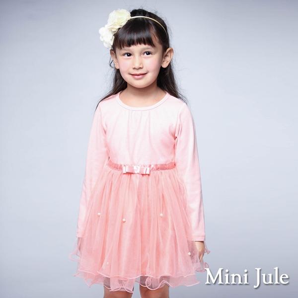 Mini Jule女童 洋裝 網紗蝴蝶結緞帶長袖蓬蓬裙(粉紅) Azio Kids 美國派 童裝