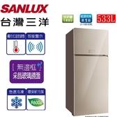 贈不鏽鋼保鮮盒 SANLUX台灣三洋 533L變頻2門電冰箱 SR-C533BVG 含原廠配送及拆箱定位