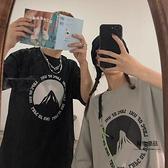 印花T恤男女短袖寬鬆雪山英文【聚物優品】