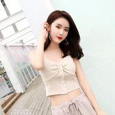 韓版小背心女短款性感抹胸式露肩針織吊帶內搭打底外穿露臍上衣「夢娜麗莎精品館」