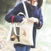 購物包新款帆布包ins女包包文藝復古側背包簡約布袋手提環保購物袋 美物居家館
