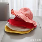 寶寶遮陽帽夏薄網眼大帽檐漁夫帽1-2-3歲5男女兒童防曬盆帽可調節 qz6499【歐爸生活館】