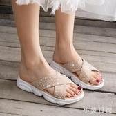 一字拖鞋女外穿時尚2020新款夏季水鉆外出厚底百搭花朵涼拖鞋 KP665『小美日記』