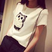 2019春季女裝少女3D立體卡通繡花貓頭鷹純棉質短袖T恤女寬鬆體恤『潮流世家』