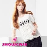 【SHOWCASE】率性鏤空圓鉚釘英文標圓領連袖T恤(白)