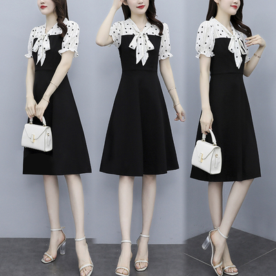 大碼拼接洋裝 9428雪紡銀絲植絨短袖拼接修身連身裙假兩件非A008 胖妞衣櫥