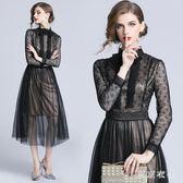 新款時尚蕾絲收腰連衣裙晚宴會酒會禮服中長款蕾絲洋裝 QQ16842『東京衣社』