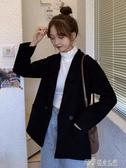 秋冬季韓版寬鬆中長款外套女2019新款百搭上衣潮流行毛呢西裝大衣 探索先鋒