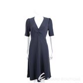Max Mara-WEEKEND V領抓皺設計深藍色短袖洋裝 1920864-34