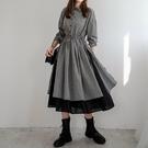 現貨-MIUSTAR 配色雙層裙襬腰綁帶襯衫式格子洋裝(共1色)【NJ0328】