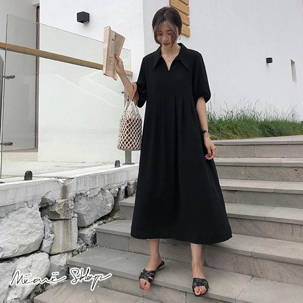 孕婦裝 MIMI別走【P52862】小復古長裙 翻領雪紡連身裙 寬版長洋裝