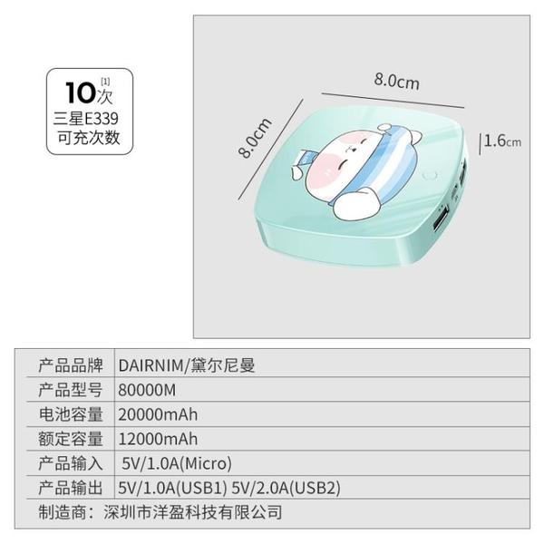 移動電源20000毫安培大容量女生可愛卡通蘋果MIUI手機通用便攜迷你小巧超薄 麥琪精品屋