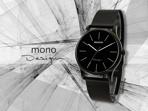 【時間道】mono 曼諾 都會簡約風格中性腕錶 / 黑面黑米蘭帶-大(5003BIP-396)免運費