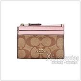 COACH金字馬車LOGO牛皮卡片零錢包(粉色x棕色)