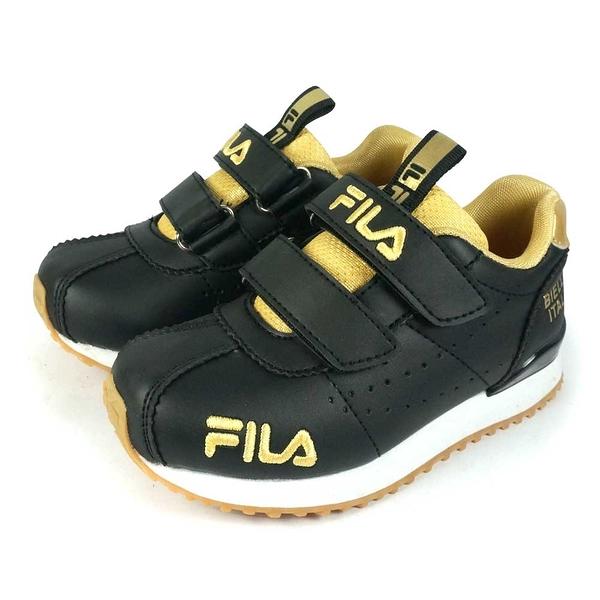 《FILA》兒童 經典慢跑鞋 黑金 7-J452V-009