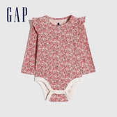 Gap嬰兒 創意愛心印花長袖包屁衣 650143-粉色