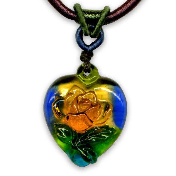 鹿港窯~居家開運水晶琉璃項鍊~心中只有妳_玫瑰花◆附精美包裝◆免運費送到家