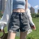 煙灰色牛仔短褲女夏季薄款2020年新款超高腰顯瘦寬鬆闊腿a字熱褲