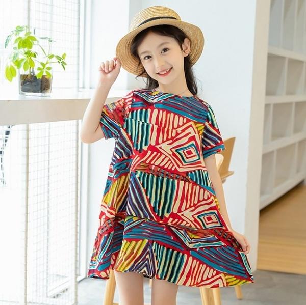 衣童趣♥韓版中大女童洋裝 民俗彩色印花 夏日連身裙