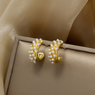耳環 82308#銀針迷你設計感C型珍珠耳釘 韓國網紅小香風耳環耳飾D507韓衣裳