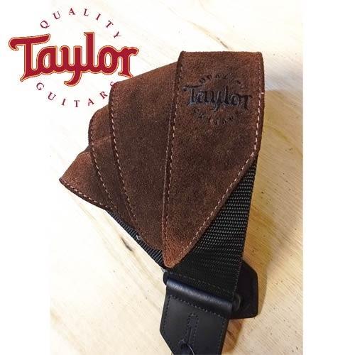 【敦煌樂器】TAYLOR TLOP-65123 深咖啡色麂皮尼龍吉他貝斯背帶