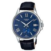 CASIO 條紋時尚單眼羅馬紳士真皮腕錶-藍面(MTP-EX100L-2A)