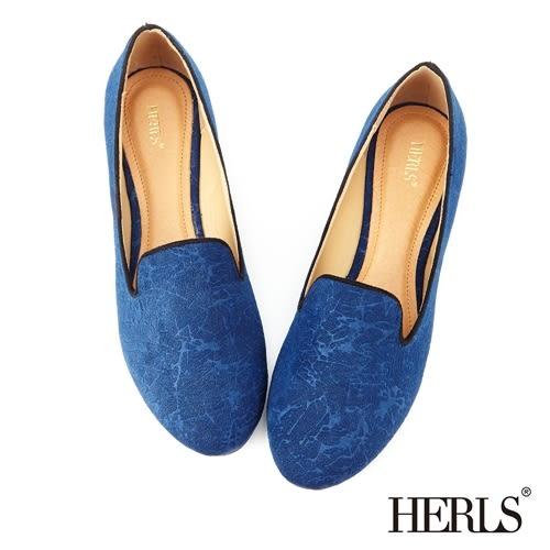 樂福鞋-HERLS 內真皮 典雅花柄樂福鞋-藍色