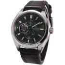 【萬年鐘錶】ORIENT東方之星OPEN HEARTx SOMES系列 鏤空錶面錶背機械錶 特殊皮帶款 綠色 SDK02002F