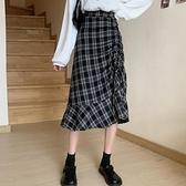 中長款小個子格子半身裙女秋季2021新款高腰裙子設計感秋冬A字裙 貝芙莉