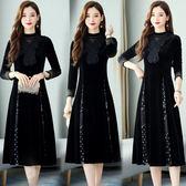 洋裝 8928#金絲絨連身裙新款秋冬款闊太太高貴洋氣打底裙長款HF303快時尚