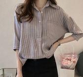 (GU-6493)條紋小口袋小翻領寬鬆落肩森林系女孩文青風七分袖襯衫