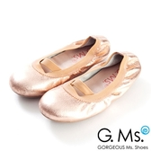 G.Ms. 童鞋-金屬羊皮鬆緊口可攜式娃娃鞋(附鞋袋)*玫瑰金