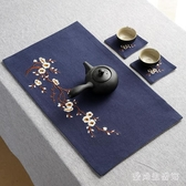 茶桌布 麻布刺繡桌旗中式茶杯墊手繪茶旗茶幾布茶道桌布茶墊 QX8447 『愛尚生活館』