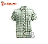 丹大戶外【Wildland】荒野 男彈性抗UV格子短袖襯衫 0A71208-67 湖水綠