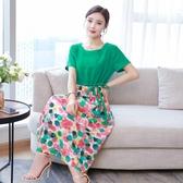 夏新款旅行文藝棉麻拼接連身裙寬鬆大碼顯瘦長裙