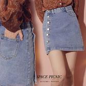 短裙 Space Picnic|單邊口袋排釦單寧牛仔A字短裙(預購)【C19081074】