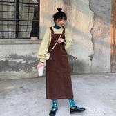 洋裝復古燈芯絨背帶裙秋裝年新款韓版氣質休閒顯瘦無袖洋裝女裝 易家樂