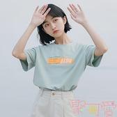 小清新印花短袖t恤女夏上衣寬松學生森女【聚可愛】