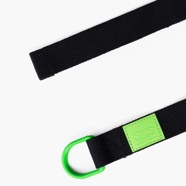Levis 男款 皮帶 / 潮流環釦設計 / 黑炫螢光綠 / 質感皮標