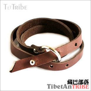 藏銀桃木油麻繩編皮手鏈
