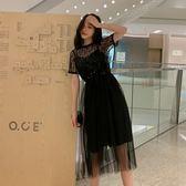 大韓訂製洋裝套裝吊帶亮片百褶裙正韓網紗蕾絲短袖上衣兩件式小禮服