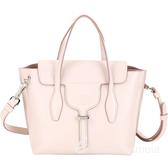TOD'S Joy Bag T釦牛皮手提肩背包(淺粉色) 1920046-05