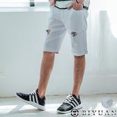 彈性口袋皮標刷破休閒短褲【HK4202】OBIYUAN 抽鬚破壞牛仔短褲 共2色