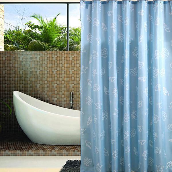 【創意巴巴】時尚高級加厚型防水浴簾-藍色海洋