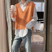 針織背心 秋季短款破邊針織馬甲男韓版氣質V領無袖毛衣背心 小天後