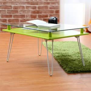 【班尼斯】Poker花漾撲克牌 摺疊和室桌/粉彩玻璃桌-鮮綠色