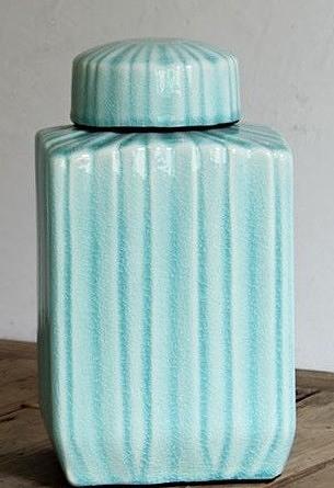 【協貿國際】家居飾品方形條紋陶瓷裝飾罐擺件(小)
